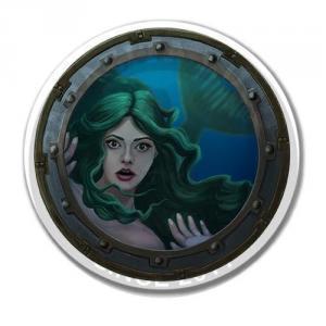 Русалка с зелеными волосами в иллюминаторе<br>