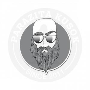 Лысый брутальный мужик в очках и с бородой<br>