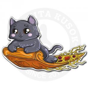 Котик верхом на пицце<br>