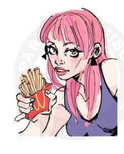 Модная девушка с картошкой фри<br>
