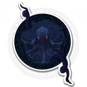 Гигантский синий осьминог забирается в иллюминатор<br>