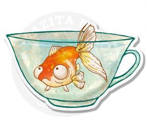 Глазастый рыб в чашке<br>