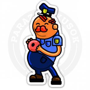 коп кушает пончик<br>