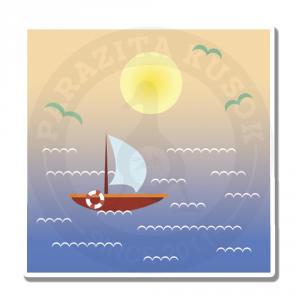Морской пейзаж с корабликом - закат<br>