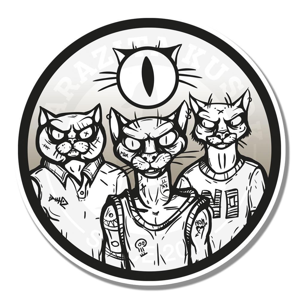 Коты-бандитыВиниловые наклейки Parazita Kusok<br>Одиночные стикеры<br>Наклейки злые коты<br>