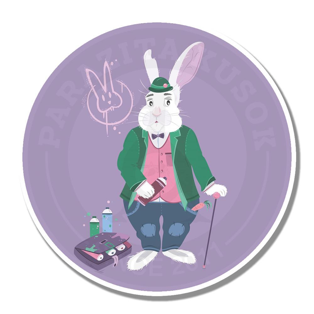 Заяц ставит тэгиВиниловые наклейки Parazita kusok<br>Наклейка Алиса в стране чудес<br>Наклейка кролик<br>