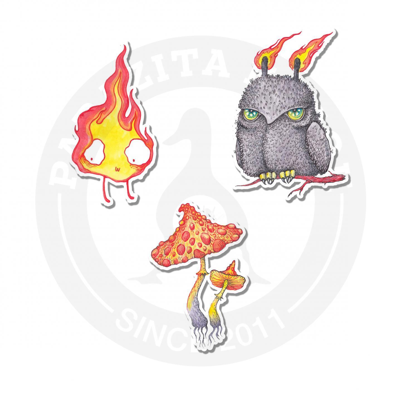Наклейки Сова, грибы и огонь<br>