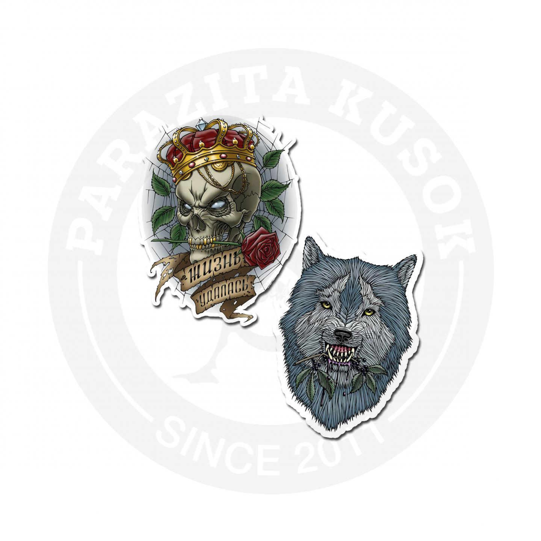 Наклейки Волк и череп<br>