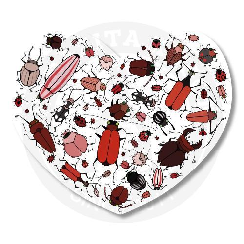 Наклейка Валентинка Жуки/Sticker Bugs Valentaine<br>