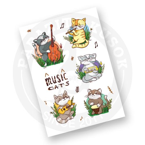 Наклейки Музыкальные Коты<br>