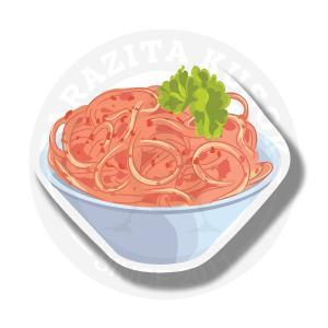 Вкусные спагеттис томатами в миске<br>