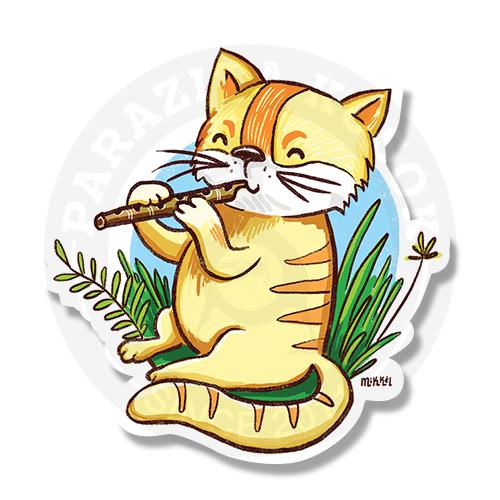 Котик играет на флейте<br>