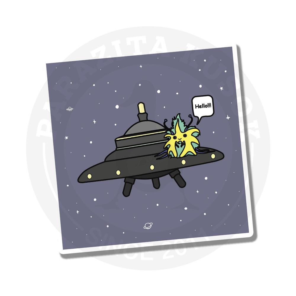 Инопланетянин бороздит просторы вселенной на своей тарелке<br>