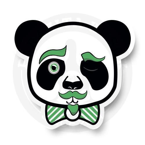 Панда с зелеными усами и бабочкой<br>