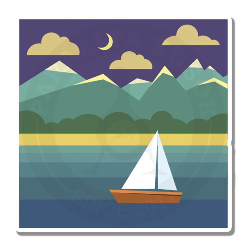 Морской ночной пейзаж с парусником<br>