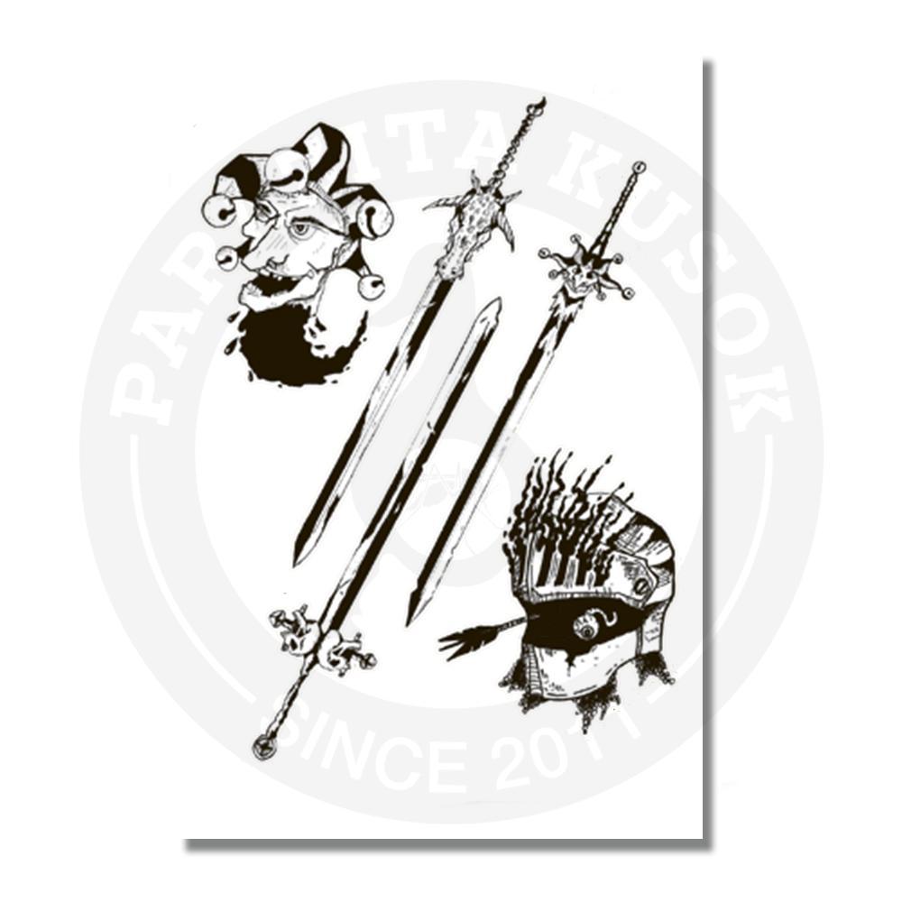Стикерпэйдж с мечами, рыцарем, шутом<br>