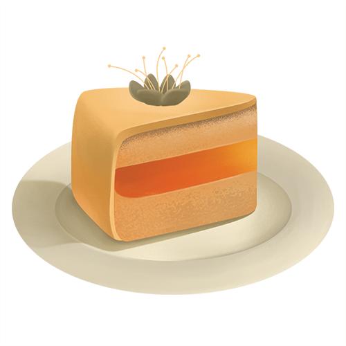 Стикер с кусочком торта на тарелке<br>