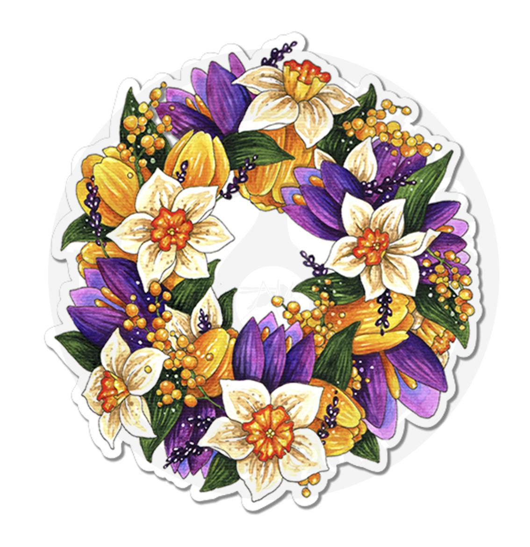 Венок с весенними цветами<br>