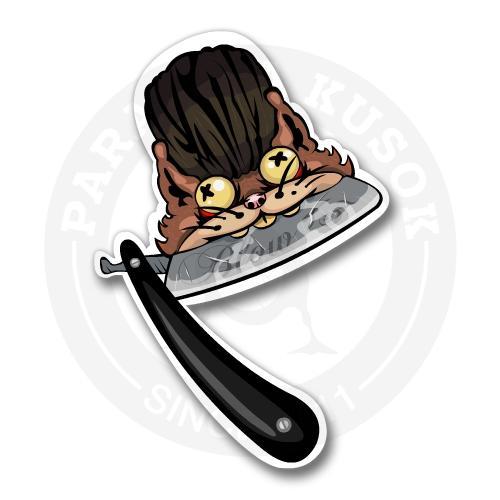 Наклейка кот с бритвой.<br>