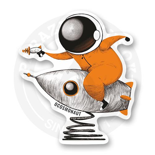Стикер Космонавт на ракете-пружинке<br>