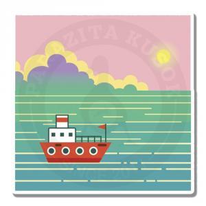 Морской пейзаж с кораблем<br>