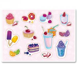Нежные розовые пирожные, мороженое, пончики, коктейли<br>