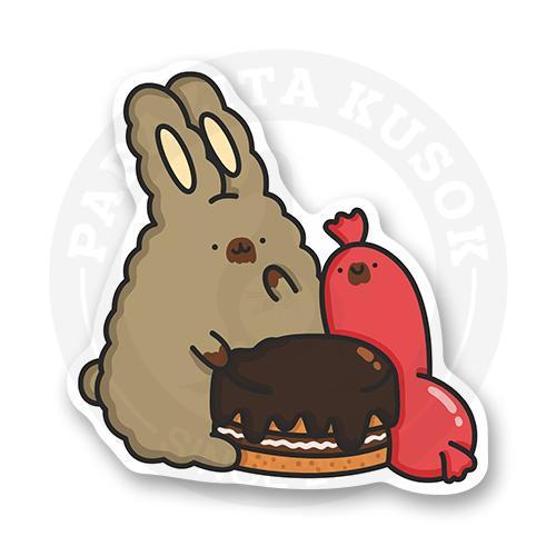 Стикер Кролик Супчик и Сосиска кушают тортик<br>