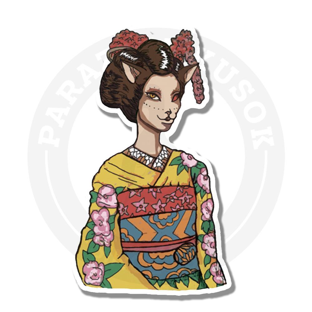 Кошка-гейша в национальном костюме<br>