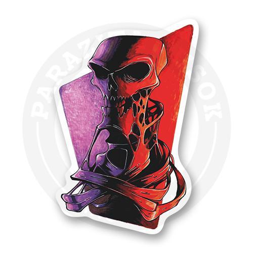 Стикер Красно-фиолетовый череп<br>