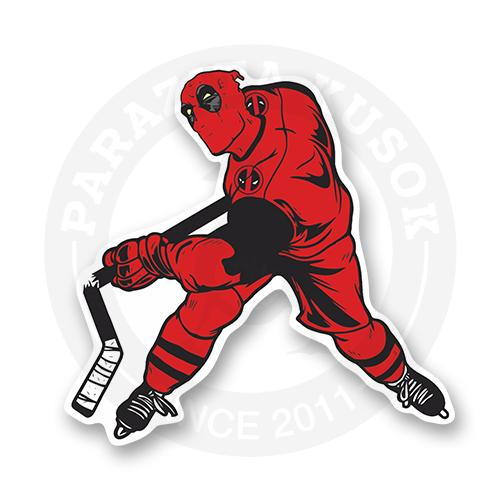 Стикер Дедпул хоккеист<br>